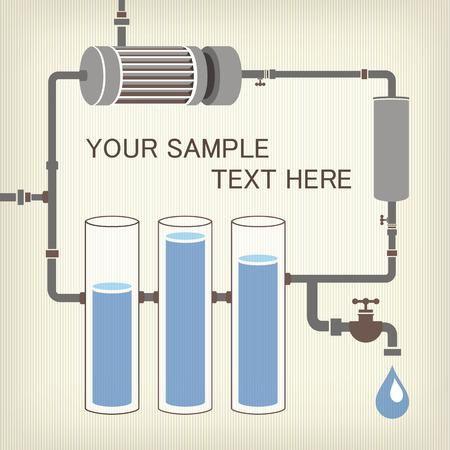 bomba de agua: Esquema Infografía con un líquido tuberías de motor del tanque de agua