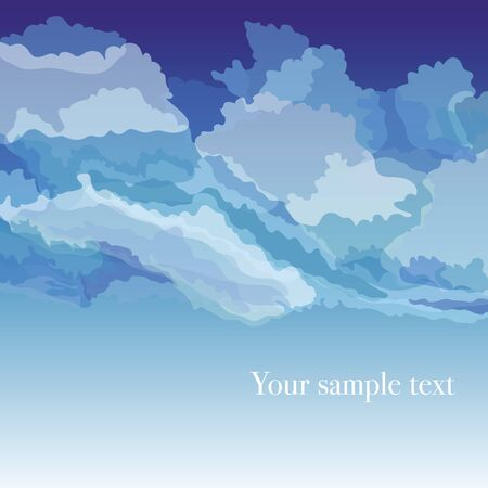 wind dramatic sky: Vector background with sky and clouds, vector illustration