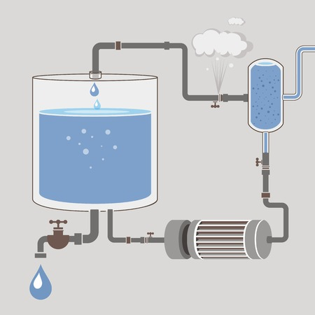 Infographics scheme with a liquid water tank motor pipes