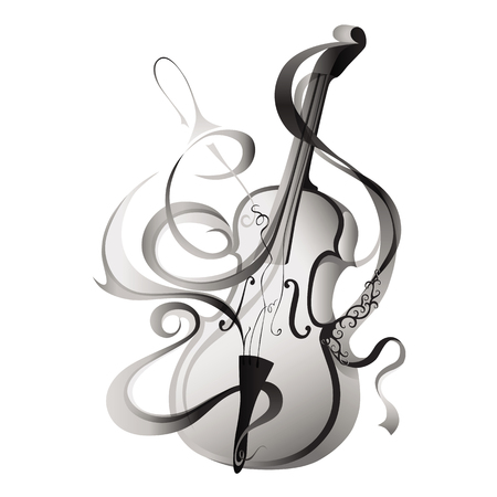 Vector illustration of abstract musical instrument greyscale violin