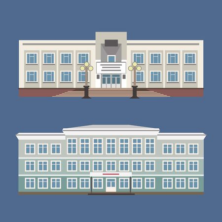 streetlight: Set of two vector illustration of detailed house