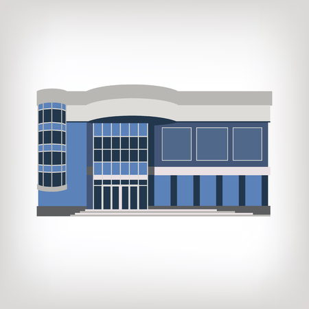 Vector illustration of modern shopping center, isolated on white background