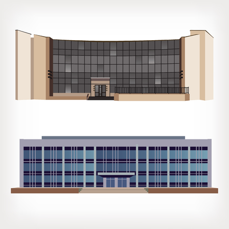 shopping center interior: Set of two vector illustration of modern buildings for web design and infographics