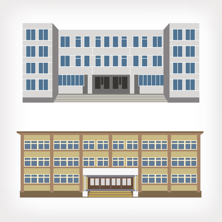 office building exterior: Set of two vector illustration of buildings for web design and infographics Illustration