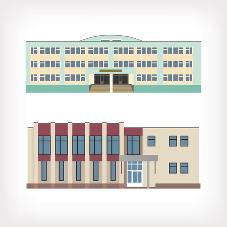 Set of two vector illustration of buildings for web design and infographics