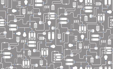 esquema: De fondo sin fisuras del esquema eléctrico, esquema de proceso tecnológico sobre fondo gris Vectores