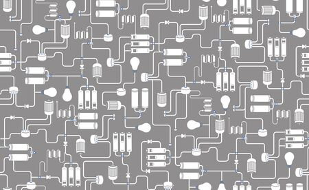 schemes: Seamless background of electrical scheme, technological process scheme on grey background