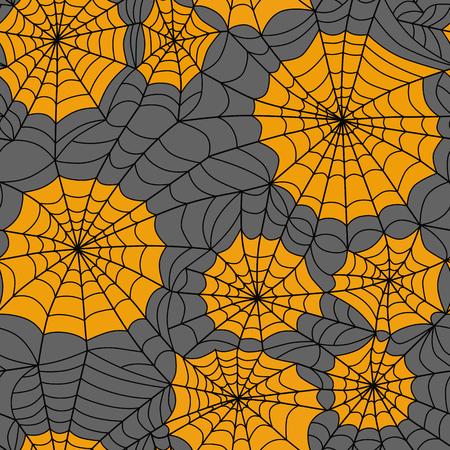 halloween spider: Halloween seamless background with web spider, black