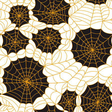 Halloween spider web seamless pattern. Vector background. Orange and black.