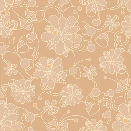 ベージュ色の背景にシームレスなベージュ花柄