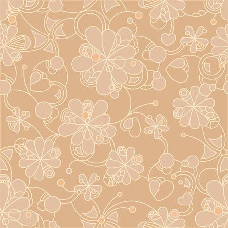 Floral seamless beige pattern on beige background