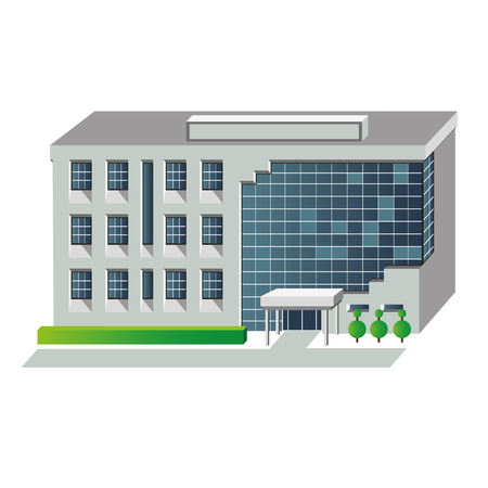 shopping center interior: Vector illustration of modern building for web design and infographics