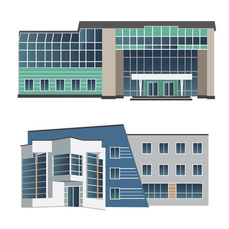 shopping center interior: Set of vector illustration of modern building for web design and infographics Illustration