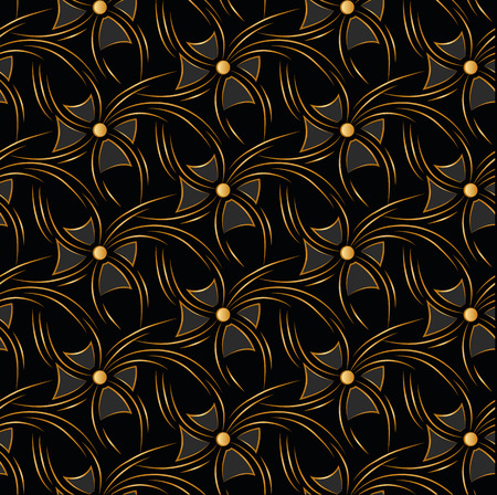 luxuriate: Black seamless background with gold flare and bows Illustration