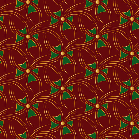 luxuriate: Red christmas seamless background with gold flare and green bows