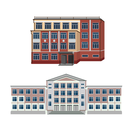 shopping center interior: Set with two vector illustration of buildings for web design and infographics Illustration
