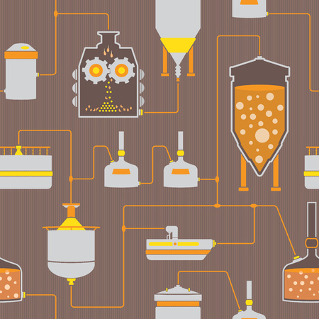 brewing: Seamless background with beer brewing process, brewery factory production elements, traditional beer crafting. Vector repeating texture Illustration