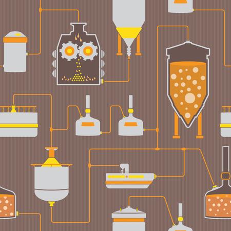 Sfondo trasparente con processo di produzione della birra, gli elementi di produzione fabbrica di birra fabbrica, tradizionale lavorazione della birra. Vector ripetendo tessitura