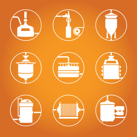 yeast: Set of beer production icon, brewery process infographic flat style. Production beer, brewery elements. Vector illustration Illustration