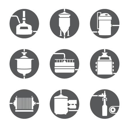 맥주 생산 아이콘, 양조장 프로세스 infographic 평면 스타일의 집합입니다. 생산 맥주, 양조장 요소. 벡터 일러스트 레이 션