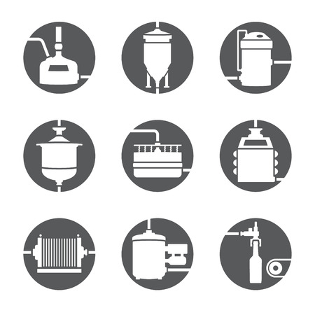 pressure bottle: Set of beer production icon, brewery process infographic flat style. Production beer, brewery elements. Vector illustration Illustration