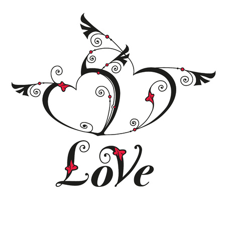 story: Two heart with wings for design template. Valentines day card. Vector illustration