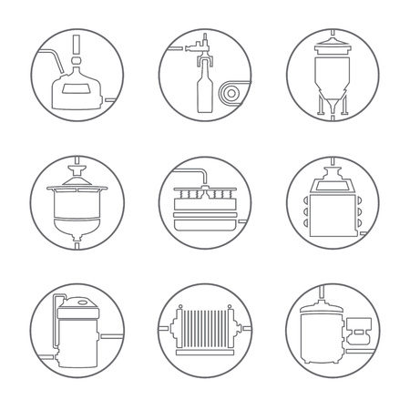 bottling: Set of beer production icon, brewery process infographic flat style. Production beer, brewery elements. Line style vector illustration