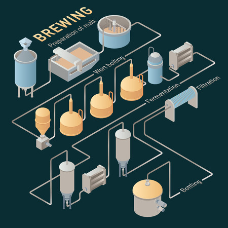 brewer: Isometric beer brewing process, production beer on dark background. Vector infographic