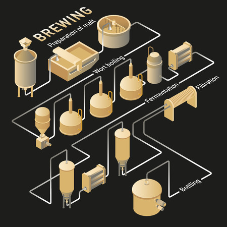 Isometric beer brewing process, production beer on dark background. Vector infographic