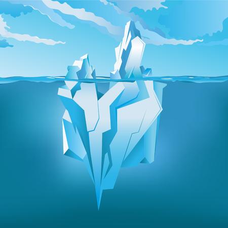 氷山の水面下で、輝く水の上。ベクトル図