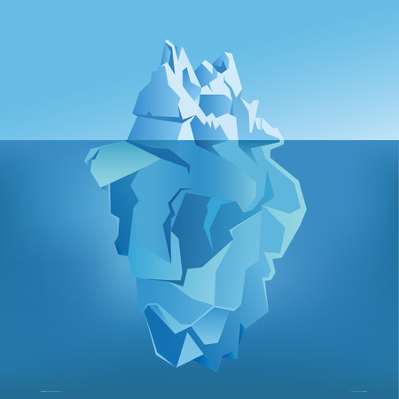 Iceberg under water and above water with shining. Vector illustration