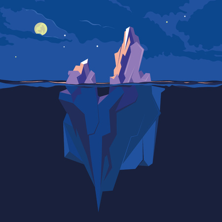 berg: Iceberg underwater and above water at night in the moonlight. Vector illustration
