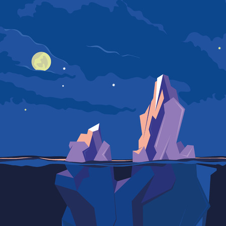 luz de luna: Iceberg bajo el agua y por encima del agua en la noche bajo la luna. ilustración vectorial