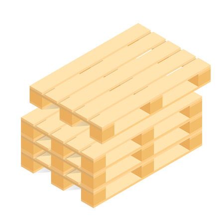 chattel: Isometric wooden pallets for transportation and storage. Vector illustration