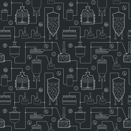 Jednolite tło z procesu warzenia piwa, piwa, produkcji elementów produkcyjnych fabryki browaru tradycyjnego piwa craftingu. Wektor powtarzając tekstury