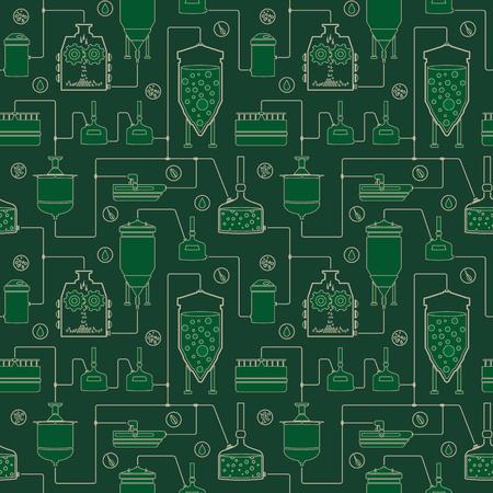 ビール醸造プロセス、生産ビール、醸造工場生産要素とシームレスな背景が緑色。反復テクスチャをベクトルします。  イラスト・ベクター素材