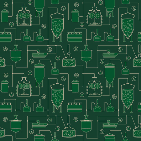 Green seamless background with beer brewing process, production beer, brewery factory production elements. Vector repeating texture Ilustração