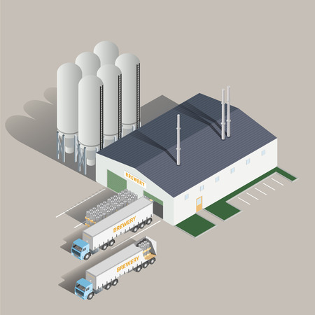 Isometric icon set representing brewing factory and truck. Vector illustration