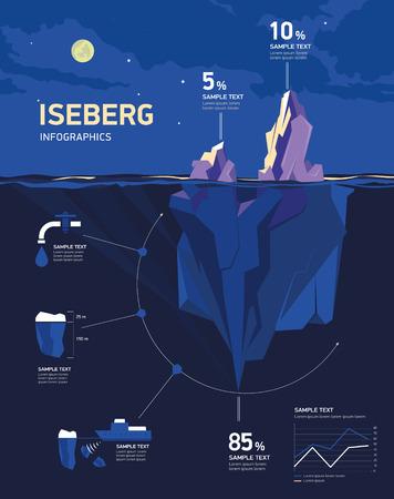 luz de luna: Iceberg infografía bajo el agua y por encima del agua en la noche bajo la luna. ilustración vectorial