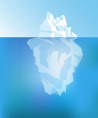 Sfondo con Iceberg sotto e sopra l'acqua. Vettore