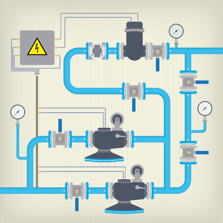 siphon: Infographics scheme with pipes, with liquid, water or gas, tank and motor. Vector