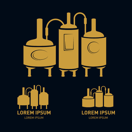 bottling: Set with bronze beer brewery elements, icons, , design elements. Brewing process, production beer, brewery factory production elements, traditional beer crafting. Vector