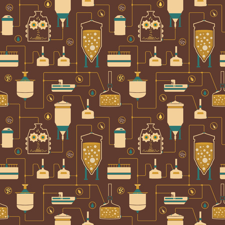 distillery: Seamless background with beer brewing process, production beer, brewery factory production elements, traditional beer crafting. Vector repeating texture
