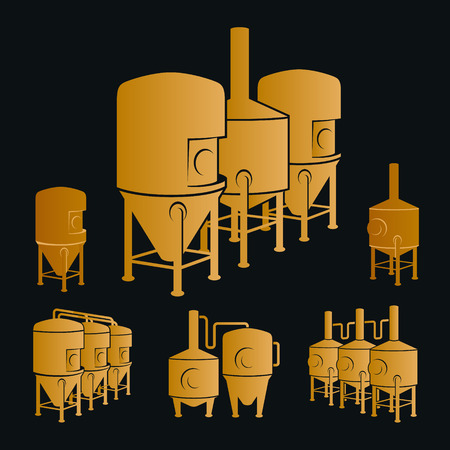 brewing: Set with bronze beer brewery elements, icons, logos, design elements. Brewing process, production beer, brewery factory production elements, traditional beer crafting. Vector Illustration