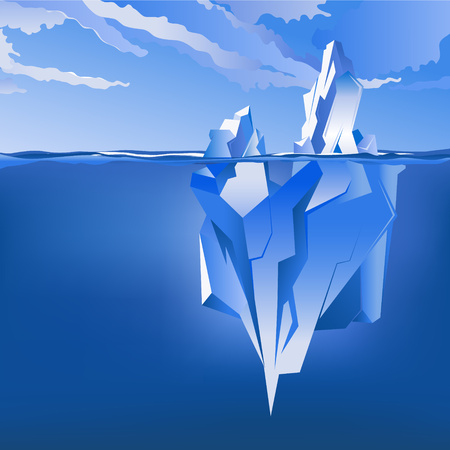 antarctic: Background with Iceberg under and above water. Vector