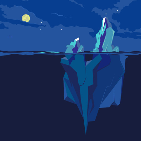 Iceberg underwater and above water at night in the moonlight. Vector illustration