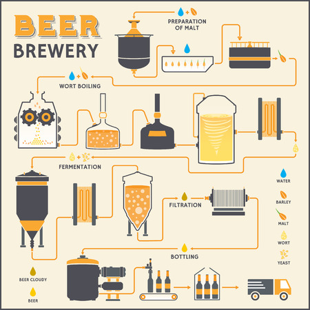 brewery: Beer brewing process, production beer, design template with brewery factory production - preparation, wort boiling, fermentation, filtration, bottling. Flat vector design graphic