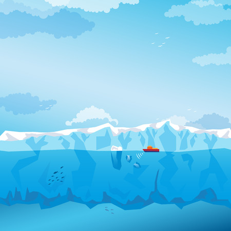 berg: Background with sky, long Iceberg and red ship. Vector Illustration