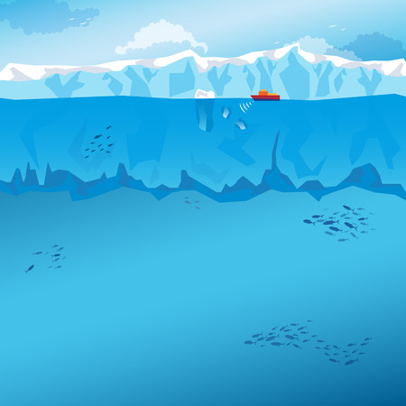 Background with sky, long Iceberg and red ship. Vector Illustration