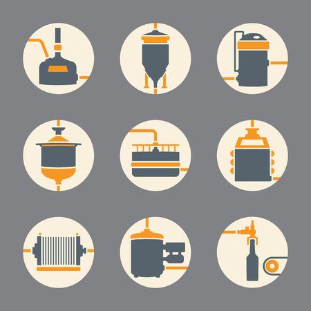 Ensemble de l'icône de la production de bière, un processus de brasserie de style plat infographique. la bière de production, des éléments de la brasserie. Vector illustration